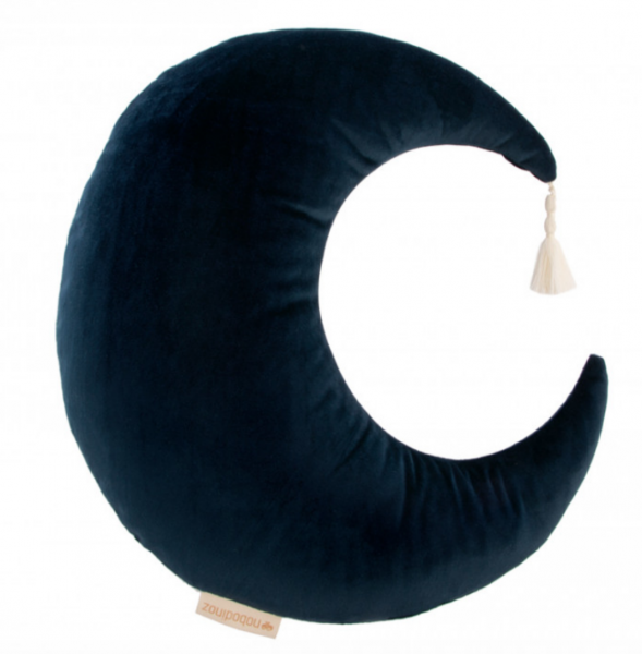 Nobodinoz MOON Velvet cushion / Samt-Kissen - Night blue